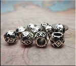 Silver Pewter Diamond Pattern Large Hole Beads 7x9mm 10 per bag