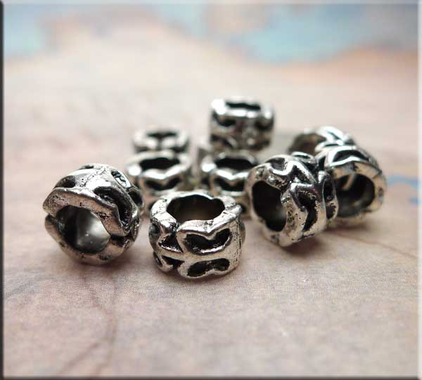 Silver Pewter Abstract Butterfly Large Hole Beads 10 per bag