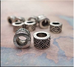 Granulated Diamond Big Hole Spacer Beads, Antique Silver (10)