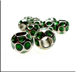 Silver Pewter Green Enameled Big Hole Nugget Beads 10 per bag