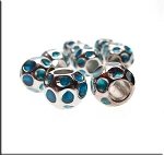 Silver Pewter Aqua Blue Enameled Large Hole Nugget Beads 10 per bag