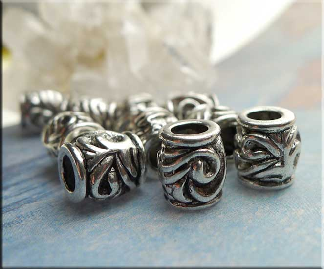 Silver Pewter Scroll Swirl Large Hole Barrel Tube Beads 10 per bag