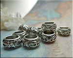 Silver Pewter Fancy Ring Large Hole Spacer Beads 8mm Opening 10 per bag