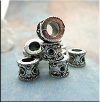 Silver Pewter Fancy Large Hole Barrel Drum Beads 7x9mm 10 per bag