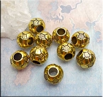 Gold Pewter Soccer Ball Volleyball Large Hole Beads 10 per bag