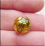 Soccer Ball Big Hole Bead, Volleyball Large Hole Bead, Antique Gold Finish