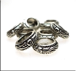 Silver Pewter Fancy Large Hole Ring Spacer Beads 4x11mm 10 per bag