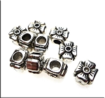 Flower Large Hole Beads, Antique Silver (10)