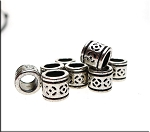 Decorative Tube Large Hole Beads, Antique Silver (10)