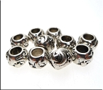 Moon and Stars Rondelle Large Hole Beads, Antique Silver (10)