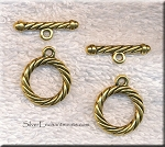 Gold Pewter Twisted Rope Toggle Clasps 20mm 10 clasps per bag
