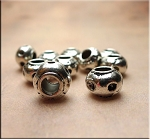 10 Silver Pewter Rondelle Big Hole Beads