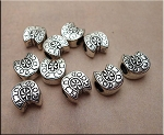 Horseshoe Beads, Antiqued Silver Good Luck Horse Shoe Large Hole Beads (10)