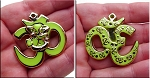 Large Om with Ganesha Double Sided Pendant, Light Green Gold