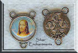 Silver Pewter Jesus Rosary Connectors 10 per bag