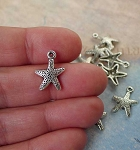 Silver Pewter Starfish Charms 16x12mm 10 per bag
