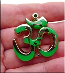 Large Om Symbol Pendant Gold with Green Splash 37x33mm 1 per bag
