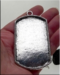 Silver Pewter Large Bezel Pendant for Mixed Media Applications 82x45mm
