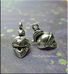 ZSOLDOUT / Silver Pewter Knight Helm Charms, 3D Legion Helmet Charms 10 per bag
