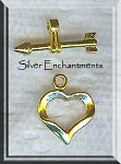 10 Bright Gold Pewter Heart Toggle Clasps