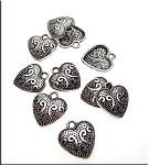 Fancy Heart Charms, Antique Silver (10)