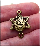 Bronze Pewter Hamsa with Star of David Connectors 27x19mm 10 per bag