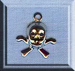 Silver tone Small Skull and Crossbones Charms 12x10mm 25 per bag