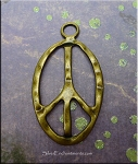 ZSOLDOUT / Bronze Pewter Large Peace Sign Pendants 6 per bag