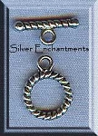 Silver Pewter Round Twist Toggle Clasps 10mm 10 per bag