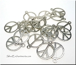 Silver Pewter Peace Sign Charms 18mm 20 per bag