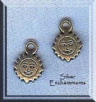 20 Silver Pewter Small Sun Charms 12x9mm