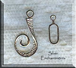 Silver Pewter Fancy J-Hook Jewelry Clasp Sets 10 per bag