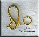 Gold Pewter J Hook Clasps with Rings 20mm 10 sets per bag