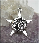 Sun, Moon and Star Pendant, Antiqued Silver