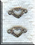 Silver Pewter Small Fancy Heart Jewelry Connectors 16x8mm 10 per bag