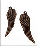 Copper Angel Wing Charms, Antique Copper Pewter Angel Wing Pendants, Bulk (15)