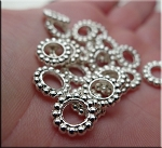 ZSOLDOUT / Silver Pewter Large Hole Spacer Beads 20 per bag