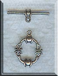 15 Silver Pewter Fancy Toggle Clasps 17mm
