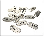 Silver Pewter WTF What the Fuck Charms 22x10mm 15 per bag