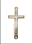 White Enameled Cross Jewelry Findings with Gold Rim 46x23mm 5 per bag