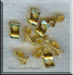 Gold Pewter Awareness Ribbon Large Hole Beads 11x6mm 10 per bag