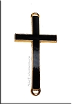 Black Enameled Cross Jewelry Findings with Gold Rim 46x23mm 5 per bag