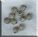 Silver Pewter Olive Barrel Grenade Beads 7x8mm 10 per bag