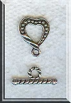Silver Pewter Dotted Heart Toggle Clasps 10 per bag