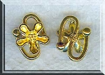 10 Bright Gold Pewter S Hook Jewelry Clasps with Flower 18mm