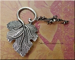 Silver Pewter Leaf Toggle Clasps 6 per bag