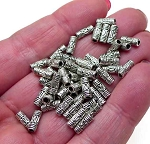 ZSOLDOUT / Silver Pewter Bali Style Tube Beads 3x8mm 50 per bag