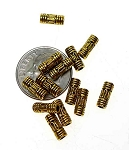 Bali Style Beads, 3x8mm Antique Gold Tube Beads (50)