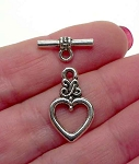 Silver Pewter Celtic Heart Toggle Clasps 10 per bag