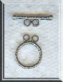 Silver Pewter Round Twist Double Strand Toggle Clasps 12mm 20 per bag